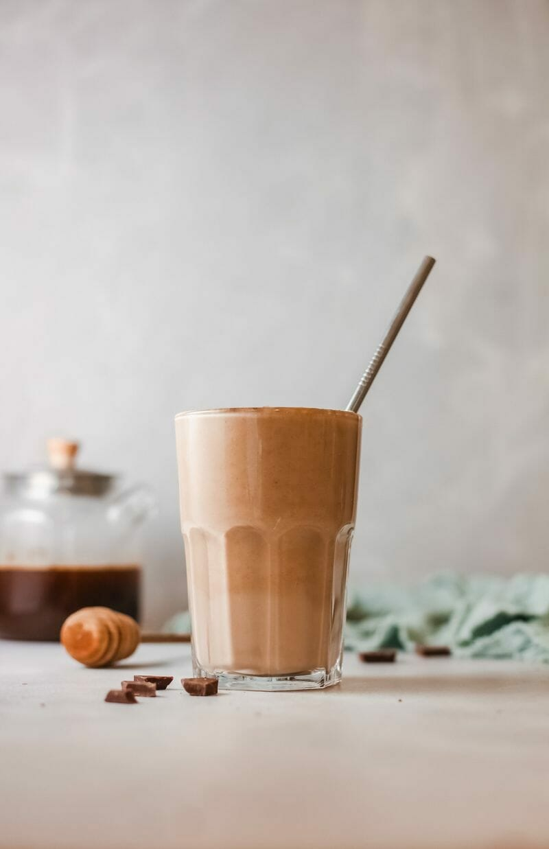 coffee and fruit smoothie
