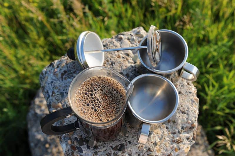 french press coffee maker outdoors