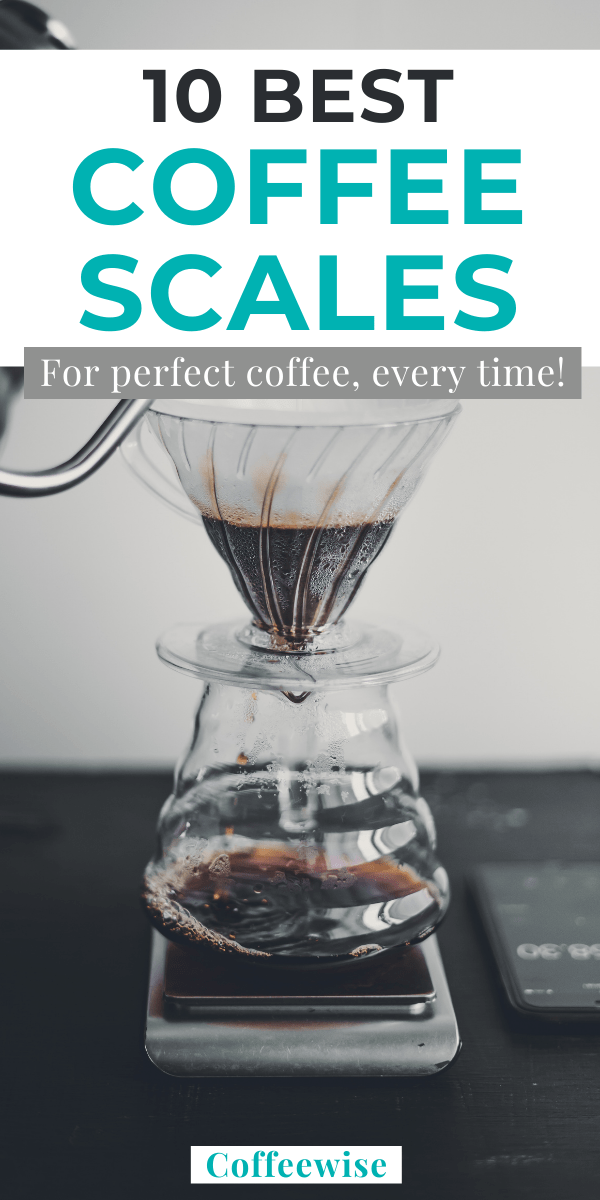 Coffee scale and hario pour over kit with text overlay 10 best coffee scales