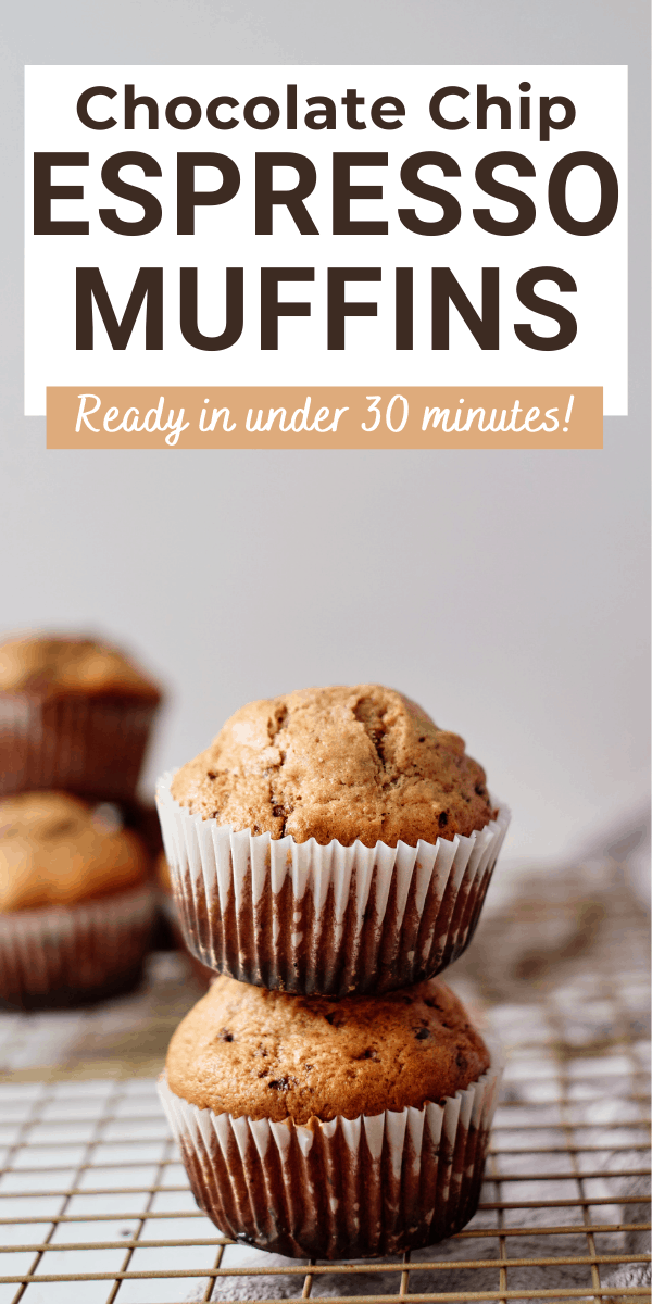 coffee muffins with text overlay chocolate chip espresso muffins