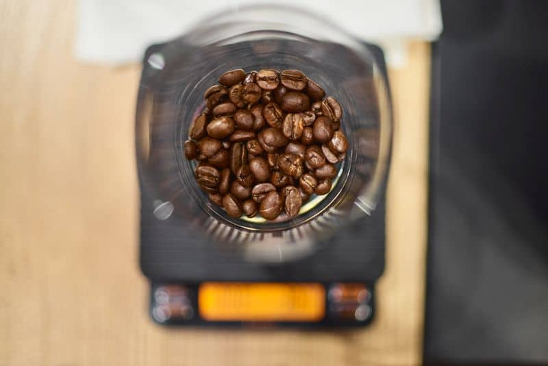 French press with coffee beans on barista scales