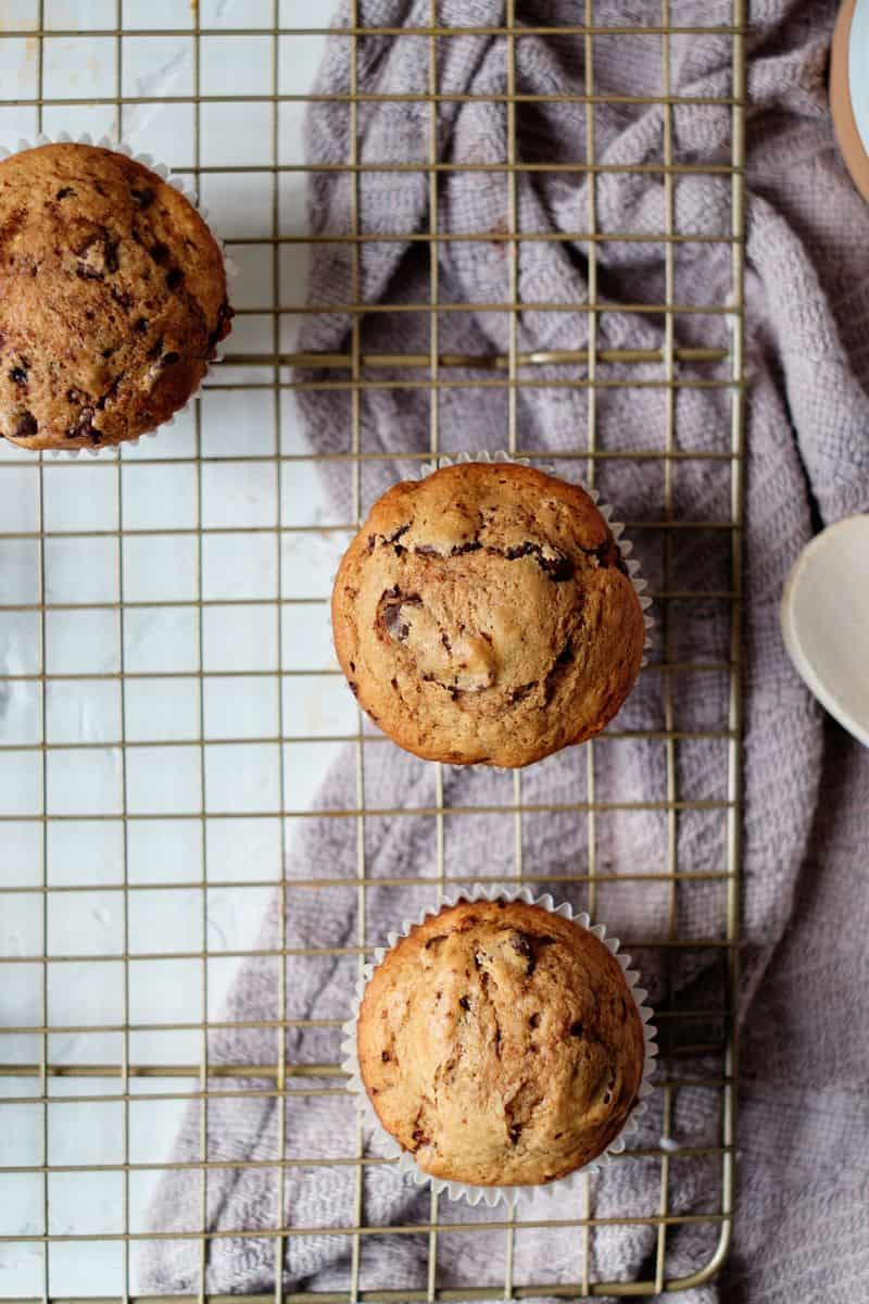 healthy coffee muffins on a cooling rack
