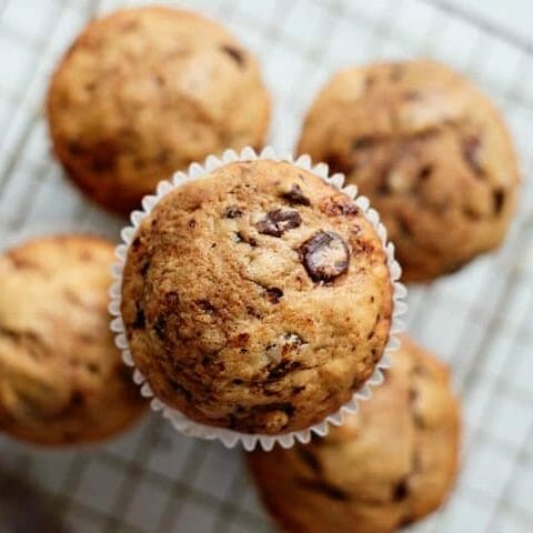 coffee chocolate muffins on tray
