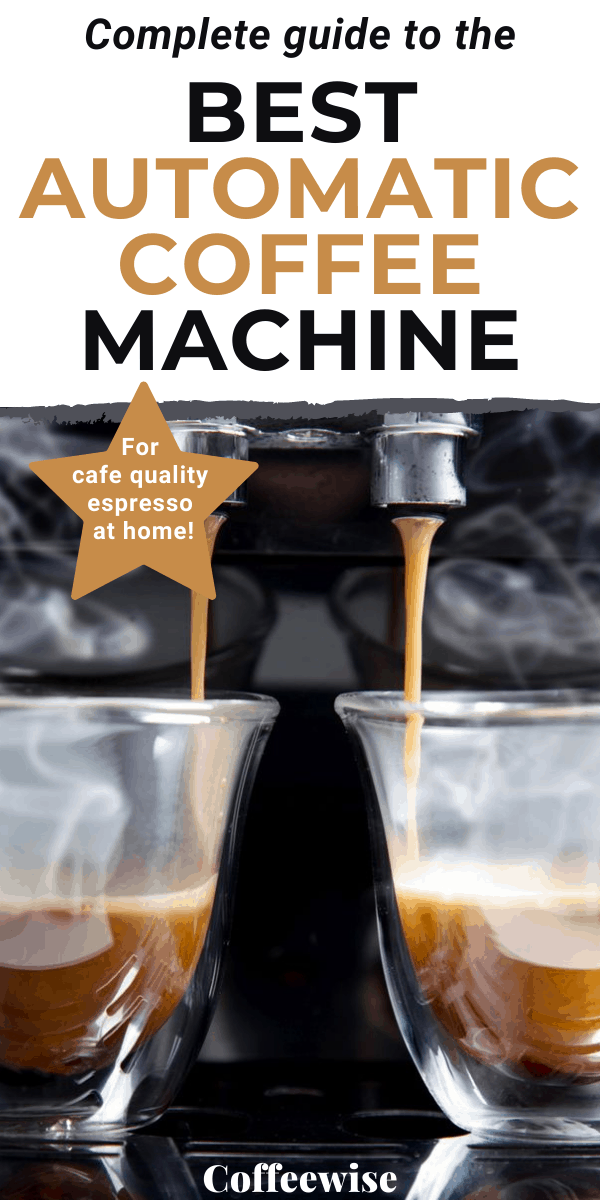 close up of espresso in cups with text overlay best automatic coffee machine