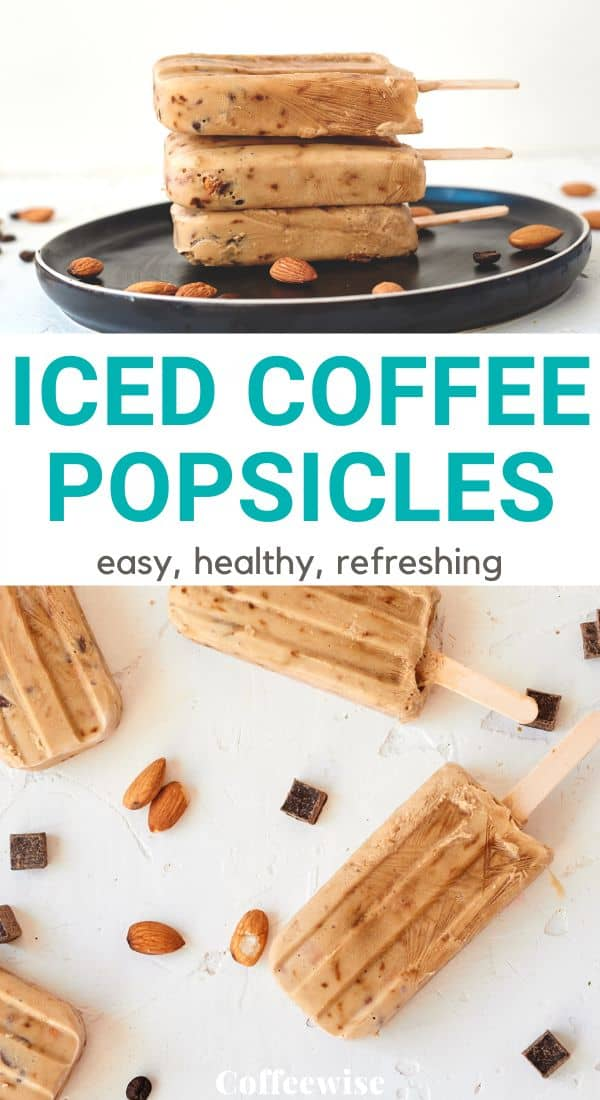 two images of cold brew ice blocks with text overlay Iced coffee popsicles