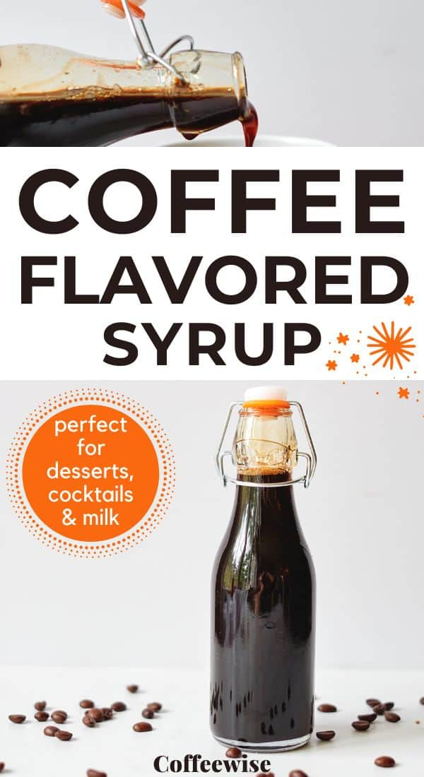 homemade espresso syrup images with text Coffee flavored syrup