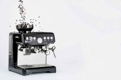 Black semi automatic coffee machine with grinder