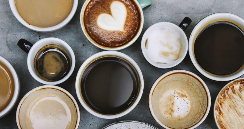 various espresso coffee drinks from above