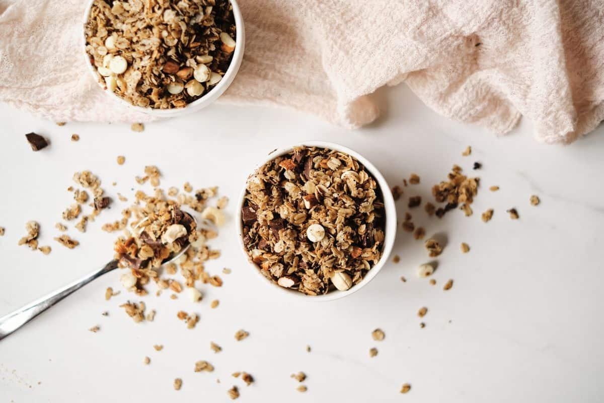 homemade chocolate coffee granola recipe in bowl