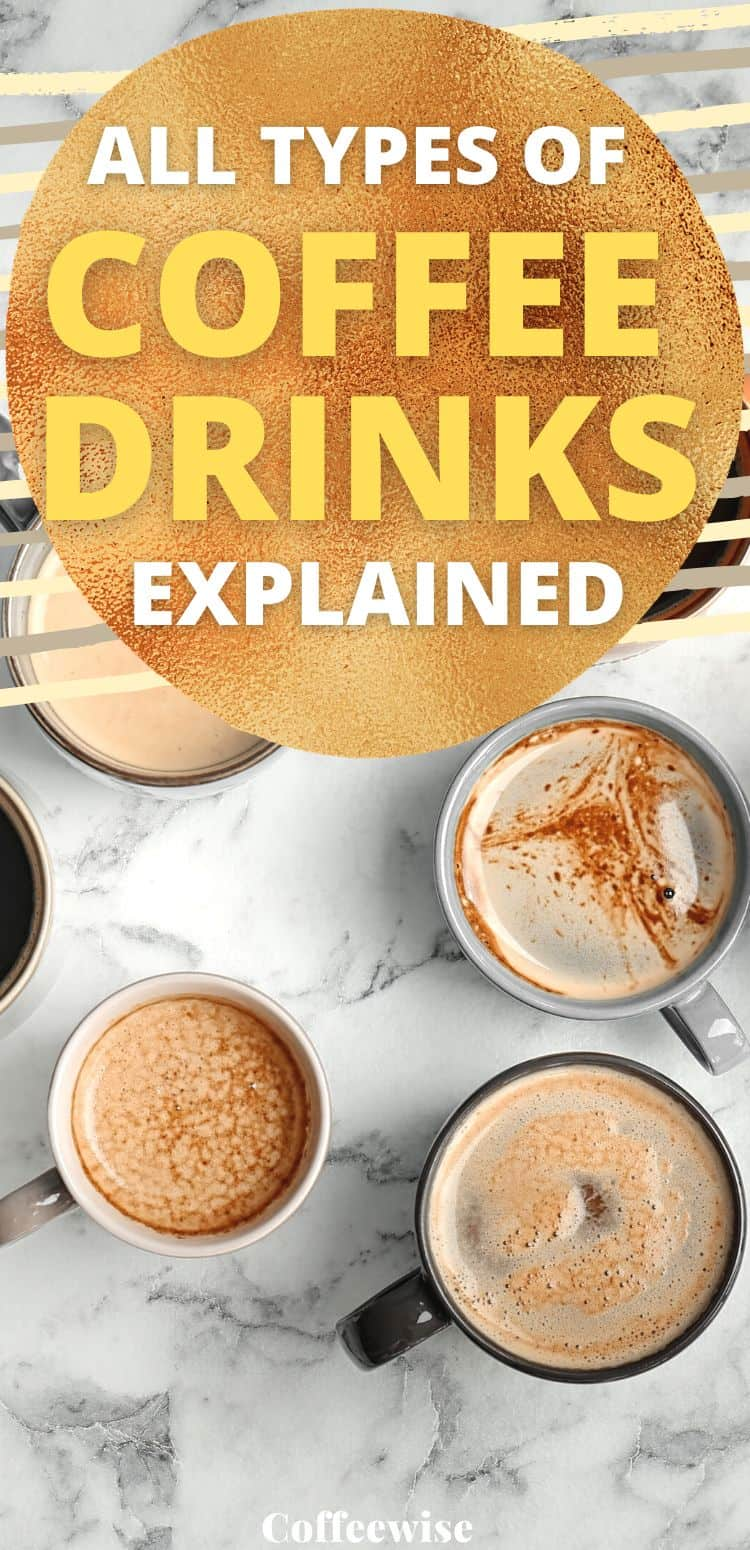"""cups of coffee with text overlay """"all types of coffee drinks explained"""""""