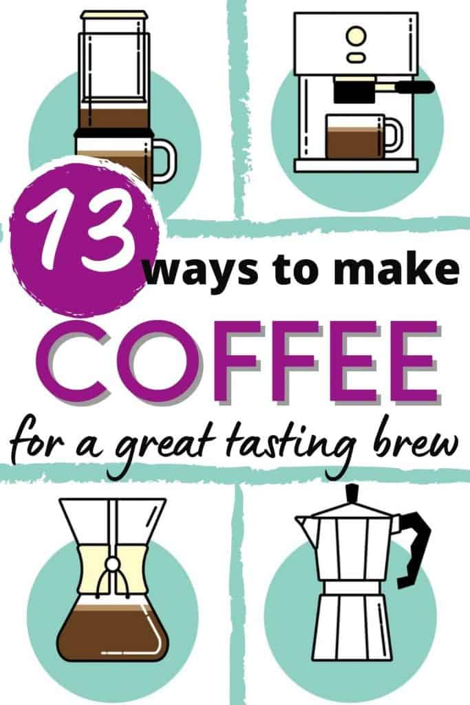images of coffee machine icons with text 13 ways to make coffee