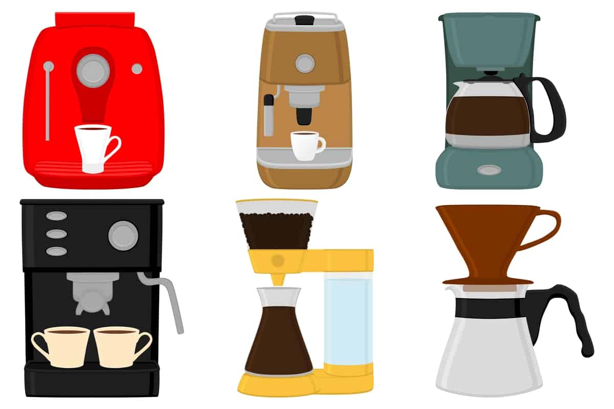 Icons of coffee machines and different coffee brewing methods