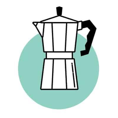 Moka pot coffee brewing icon