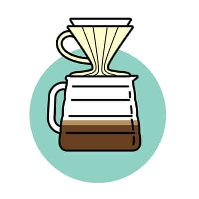 Pour over filter coffee brewing method icon