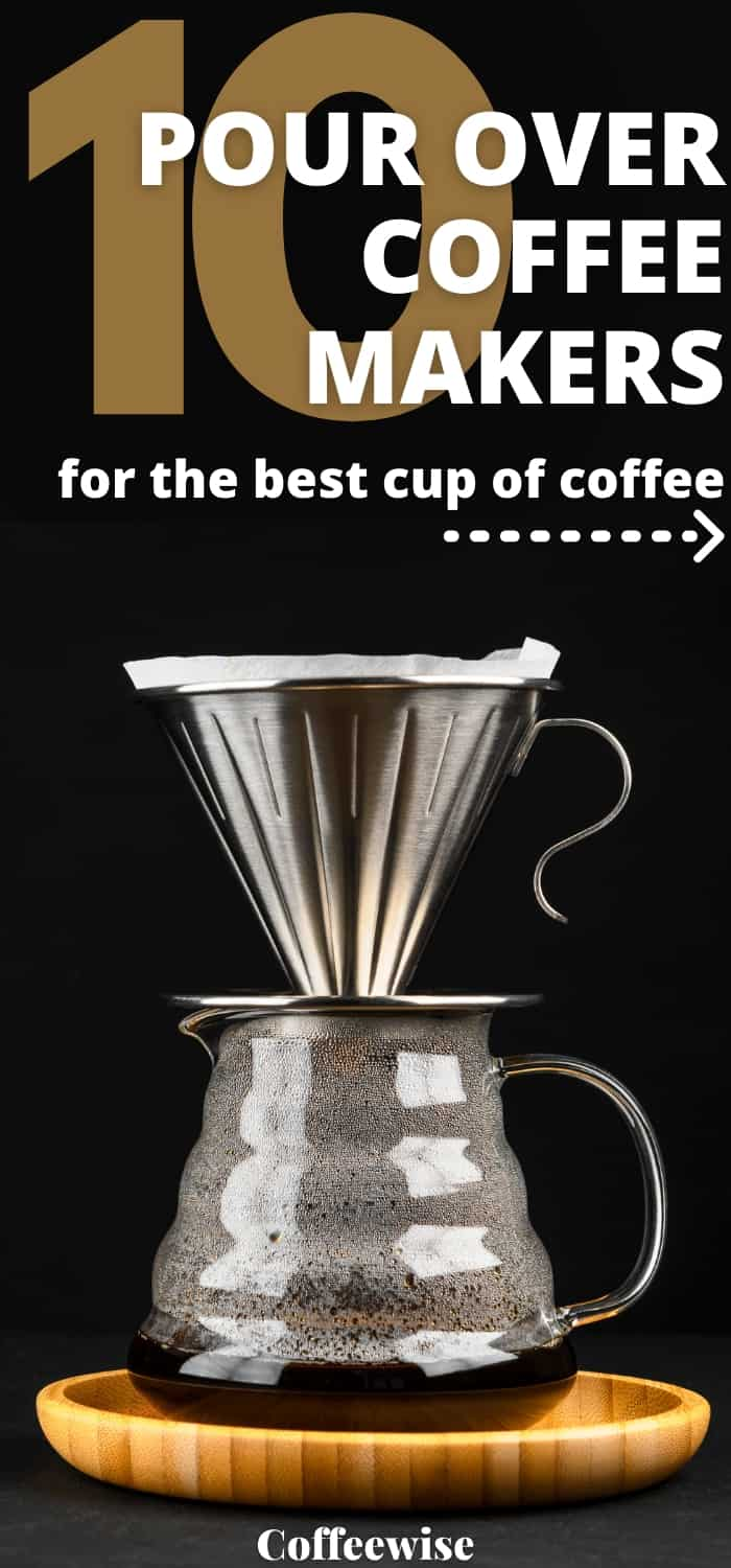 Pour over dripper on glass server carafe with text best pour over coffee makers.
