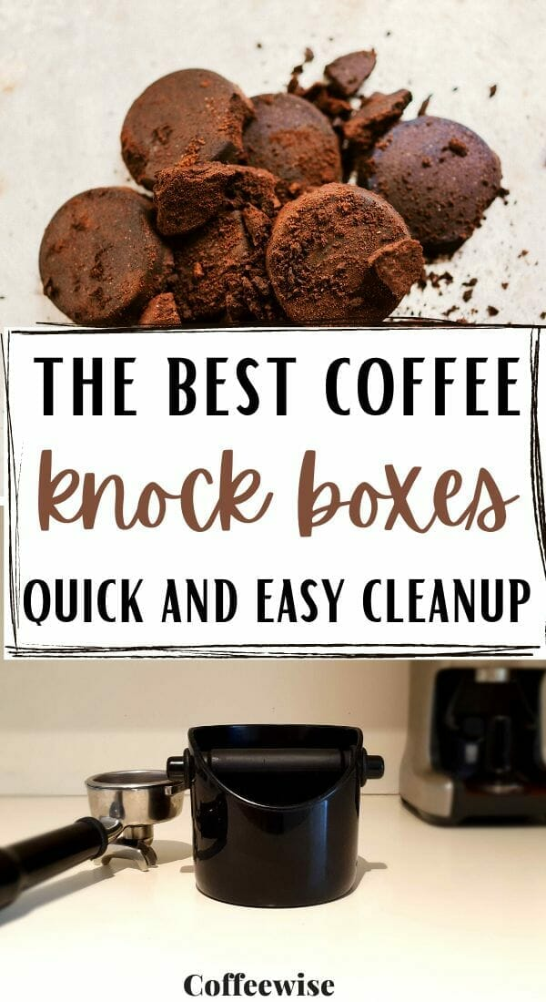 coffee knockout bin and used espresso pucks with text the best coffee knock boxes.