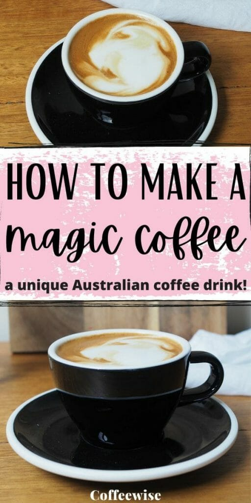 Magic coffee in black ceramic coffee cup with text how to make a magic coffee.